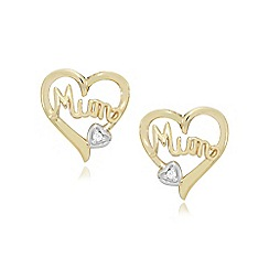 Precious Moments - 9ct gold diamond set 'mum' earrings