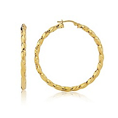 Love Story - 9ct Yellow Gold Large Ladies Hoop Earrings
