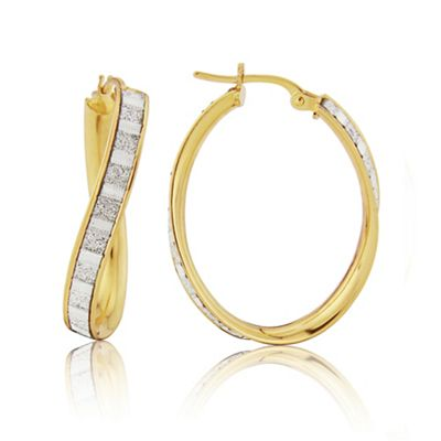 Love Story 9ct Yellow Gold and Rhodium Hoop Earrings