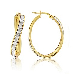 Love Story - 9ct Yellow Gold and Rhodium Hoop Earrings