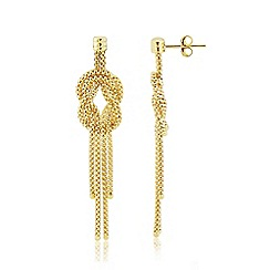 Love Story - 9ct Yellow Gold Ladies 'Knot' Design Earrings
