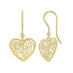 Love Story - 9ct Yellow Gold Ladies Heart Earrings