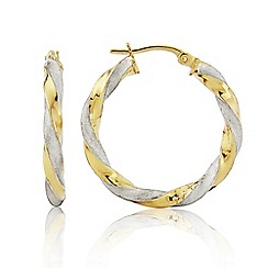 Love Story - 9ct Yellow Gold and White Rhodium Ladies Earrings