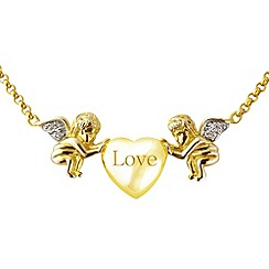 Love Story - Silver with 9ct gold plate necklet with diamonds