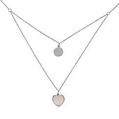 Precious Moments - Sterling silver rose quartz double ladies necklace