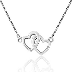 Love Story - Sterling Silver Twin Heart Necklace