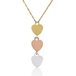 Love Story - 9ct Gold Three Coloured Pendant