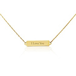 Precious Moments - 9ct yellow gold 'I love you' bar necklet