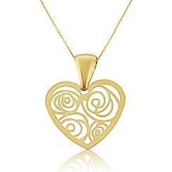 Love Story - 9ct Yellow Gold Ladies Heart Pendant