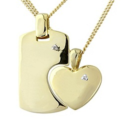 Precious Moments - Silver, 9ct gold plate diamond-set pendant