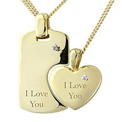 Precious Moments - Silver 9ct gold plate diamond 'i love you' pendant