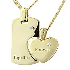 Precious Moments - Silver, 9ct gold plate 'together forever' pendant