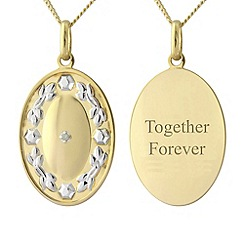 Precious Moments - Silver with 9ct gold plating diamond set 'message' pendant