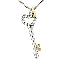 Love Story - Silver and 9ct gold key pendant