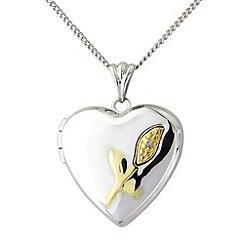 Precious Moments - Silver and 9ct gold diamond set locket