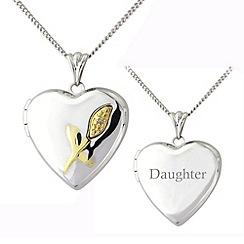 Precious Moments - Silver and 9ct gold diamond set 'daughter' locket
