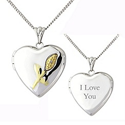 Precious Moments - Silver and 9ct gold, diamond 'i love you' locket