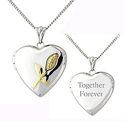 Precious Moments - Silver 9ct gold, diamond 'together forever' locket