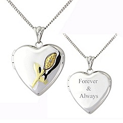 Precious Moments - Silver, 9ct gold diamond 'forever & always' locket