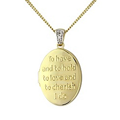 Precious Moments - Silver, 9ct gold plated, diamond 'message' locket