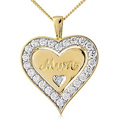 Precious Moments - Silver and 9ct gold plated stone-set 'mum' pendant