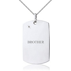 Precious Moments - Sterling silver gents diamond tag for 'brother'