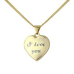 Precious Moments - Silver and yellow rhodium 'i love you' locket