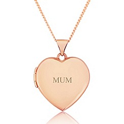 Precious Moments - 9ct rose gold ladies love heart locket for 'mum'