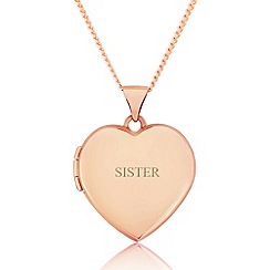 Precious Moments - 9ct rose gold ladies love heart locket for 'sister'