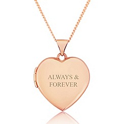 Precious Moments - 9ct rose gold ladies love heart locket with 'always & forever'