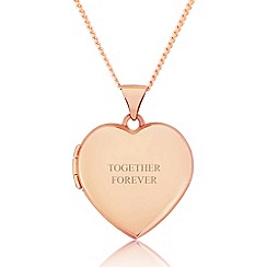 Precious Moments - 9ct rose gold ladies love heart locket with 'together forever'