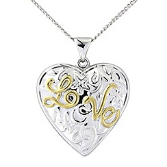 Love Story - Silver and 9ct gold plated 'love' pendant