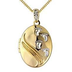 Precious Moments - Silver, 9ct gold plated diamond message locket