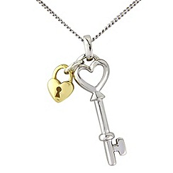 Love Story - Silver and 9ct gold lock and key pendant