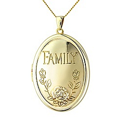 Precious Moments - Silver, withyellow rhodium finish, 'Family' locket