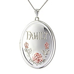 Precious Moments - Silver and yellow rhodium family locket