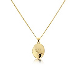 Precious Moments - Yellow rhodium plate on sterling silver, 'I love you' locket