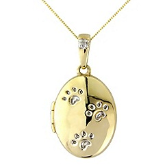 Pawprints - 9ct gold diamond locket pendant