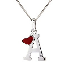 Love Story - Silver initial 'a' pendant
