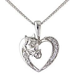 Hoofprints - Silver stone set pony pendant
