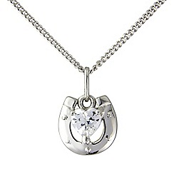 Precious Moments - White bronze stone set horse shoe pendant