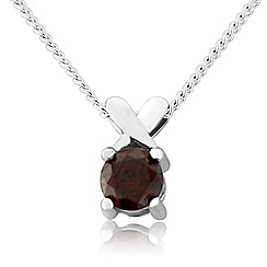 Precious Moments - Sterling silver red cubic zirconia 'kiss' pendant