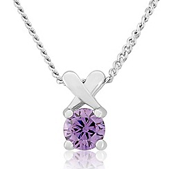Precious Moments - Sterling silver purple cubic zirconia 'kiss' pendant