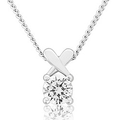 Precious Moments - Sterling silver white cubic zirconia 'kiss' pendant