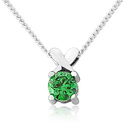 Precious Moments - Sterling silver dark green cubic zirconia 'kiss' pendant