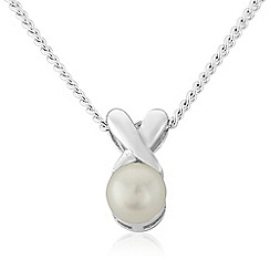 Precious Moments - Sterling silver pearl 'kiss' pendant