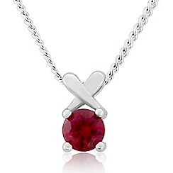 Precious Moments - Sterling silver created ruby 'kiss' pendant