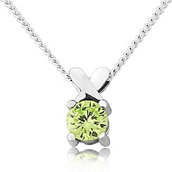 Precious Moments - Sterling silver green cubic zirconia 'kiss' pendant