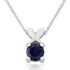 Precious Moments - Sterling silver created sapphire 'kiss' pendant