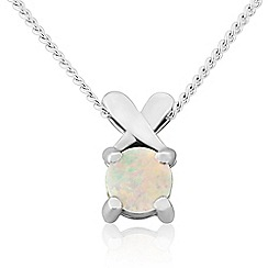 Precious Moments - Sterling silver created opal 'kiss' pendant